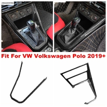Merkezi konsol vites Shift çerçeve şerit dekorasyon kapak Trim VW Volkswagen Polo için 2019 2020 2021 ABS karbon Fiber bak iç
