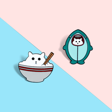 Cat disguised Shark Enamel Lapel Pins Cat Rice Cartoon Brooches Badges Fashion Backpack Pin Gift for Friends Wholesale Jewelry cute cat paw enamel lapel pins stay pawsitive brooches badges fashion cartoon backpack pin gift for friends wholesale jewelry