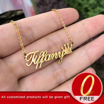 Personalized Name Crown Necklace Customized Font Nameplate Pendant Stainless Steel Chain Jewelry Birthday Gifts Custom Necklace stainless steel cremation jewelry angel wings pendant memorial urn necklace
