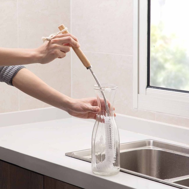 1pcs Wooden Long Handle Pan Pot Brush Dish Cups Washing Cleaning Brush Bottle Cleaner Household Kitchen Cleaning Tools 5