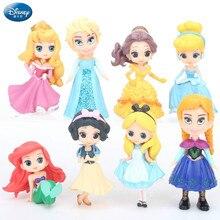 8pcs/set Mini Disney Princess Mermaid Belle Snow White princess Anna presents a doll girls toys for children anime figure princess poppy mermaid princess