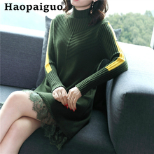 Lace Patchwork Black Knitted Sweater Dresses Ladies Long Sleeve Contrast Midi Dress Women White Brom Bandage Ropa