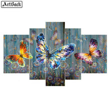 5d diy diamond painting butterfly full square color sticker mosaic crafts embroidery home decoration