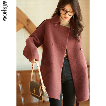 MISHOW 2020 Winter Wool Coats For Women Shick Long Sleeve Warm Outerwear Fashion Outwear Overcoats Female Clothing MX20D9777 mishow 2020 winter parkas for women long sleeve fashion warm coats streetwear outdoor overcoats slim female jackets mx20d9113