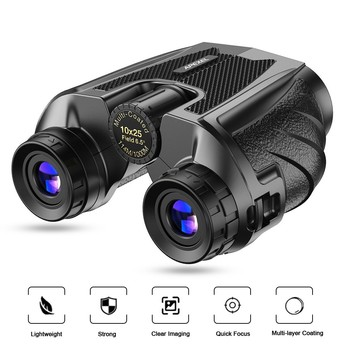 Professional HD 10X25 Zoom Binoculars With BAK4 Prism Portable Day/Night Vision Binocular Telescope For Outdoor Travel Camping apexel 8x21 portable binoculars hd bak4 prism telescope zoom for world cup outdoor bird watching camping hiking travel sports