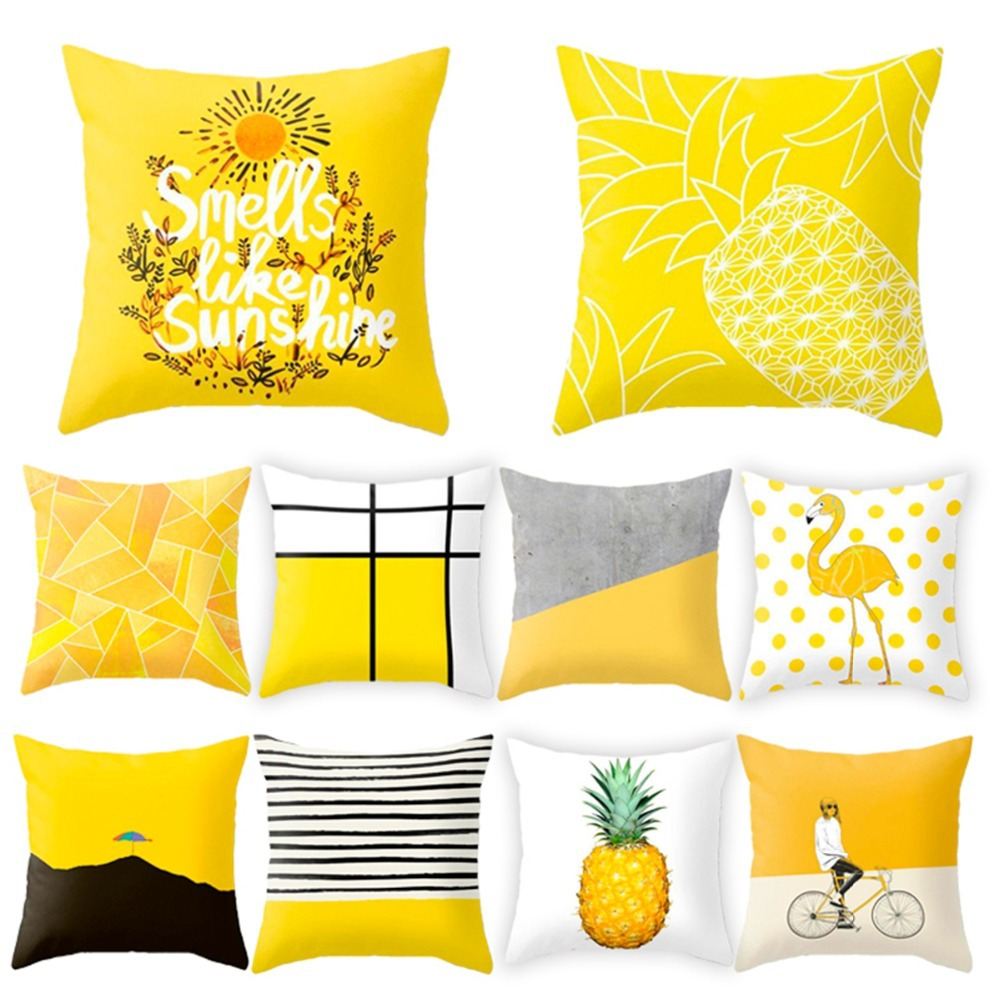 Urijk 45x45cm Yellow Striped Pillowcase Geometric Throw Cushion Pillow Cover Printing Cushion Pillow Case Bedroom Office