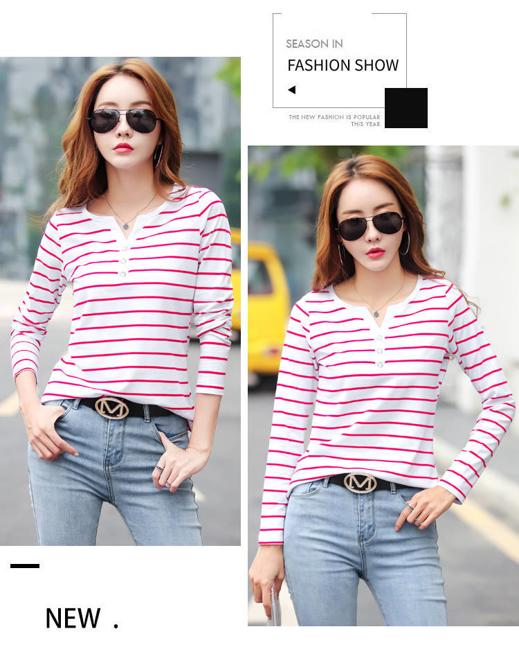 Ha67b09c62ffe46b6b39998a48252d9735 - Women T-Shirt Cotton Short Long Sleeve Lady T Shirt Striped Summer Spring Autumn Female Blusa White Plus Size Fashion Top Tee T0
