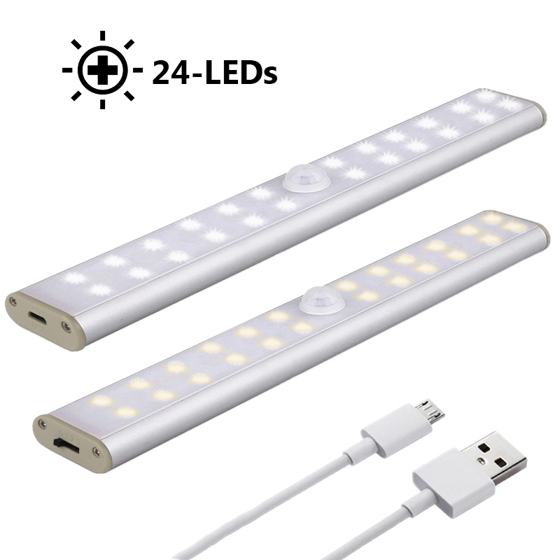 LED Under Cabinet Light PIR Motion Sensor Lamp 24 LED Wireless USB Rechargeable Kitchen Lights For Wardrobe Closets светильники