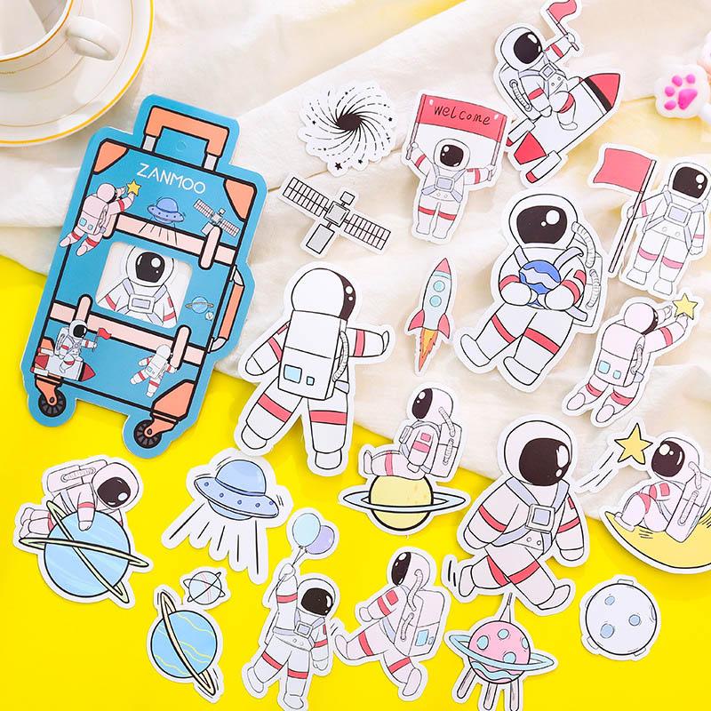 20Pcs/Lot Kawaii Astronaut Decorative Stickers Cute Cartoon Animal Stikers For DIY Diary Scrapbooking Luggage Laptop Stickers