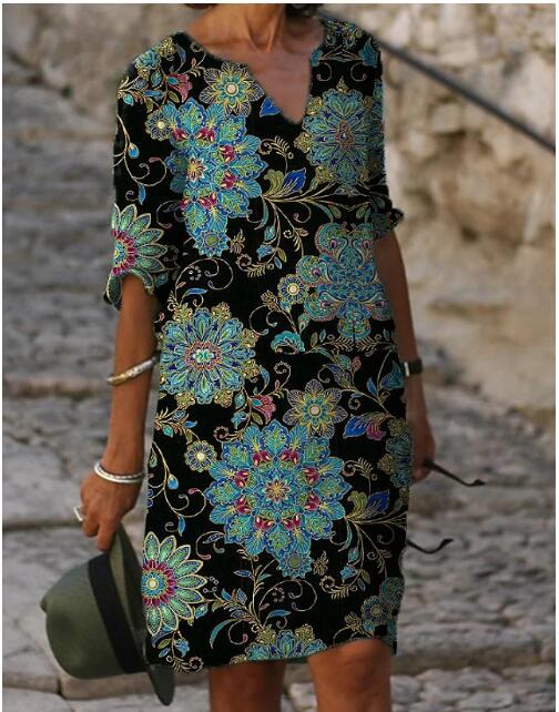 Kadın vardiya elbise diz boyu elbise yarım kollu çiçek renk bloğu yaz güz V boyun rahat sıcak tatil elbiseler gevşek 2021