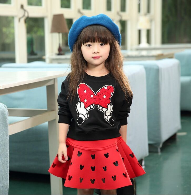 New brand red and black girls spring clothing suit kid cartoon mouse cotton children tops shirt with mini tutu skirt hollow set 3