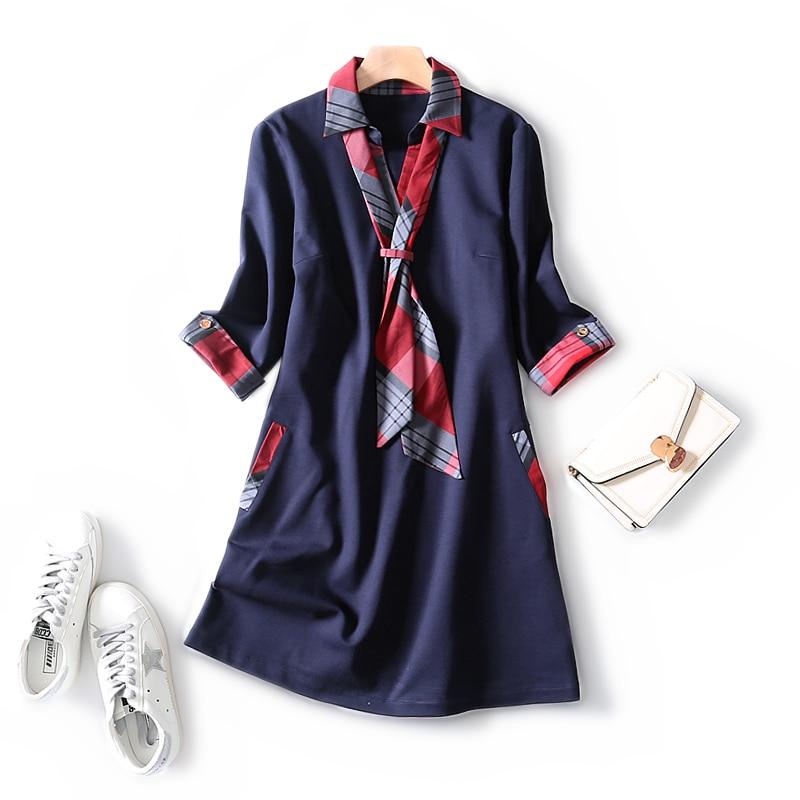 2019 automne et hiver charmant foulard en soie plaid Slim-fit couture poches trois quarts manches slim et élégant tenue décontractée