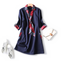 2019 autumn and winter charming silk scarf plaid Slim fit stitching pockets three quarter sleeves slim and elegant casual dress