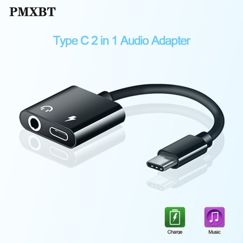 2 In 1 Type C To 3.5 Mm Earphone Jack Adapter USB C Audio Cable Converter Charging Headphone Splitter For Huawei P30 P20 Xiaomi