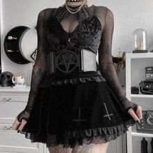 Gothic Sexy High Waist A Line Black Skirt Y2K Mall Goth Dark Academia Lace Stitch Elastic Pleated Mini Skirts Woman Alt Clothes
