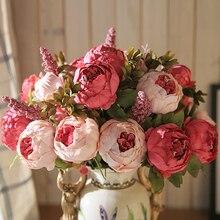 Ramo de flores de peonía Artificiales Luyue 13, flores Artificiales de seda falsa, rosa, flor para novia, decoración para el hogar
