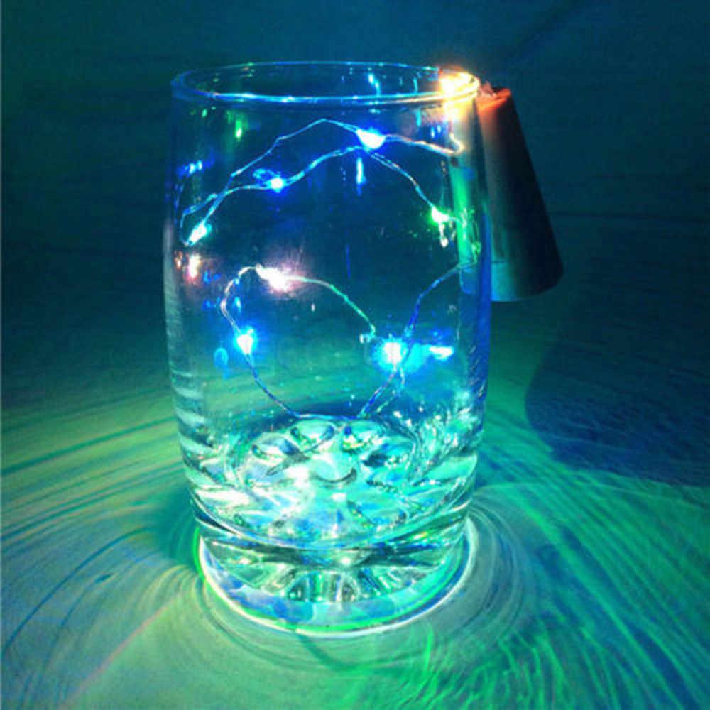 2M 1M solaire bouteille de vin liège lumière LED fil extérieur guirlande lumineuse Festival lumière extérieure publicité lumière publicidad