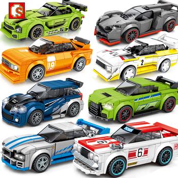 Sembo bloki miasto prędkość mistrzowie samochód sportowy Technic samochód wyścigowy Super Racers figurki klocki klocki zabawki dla dzieci tanie i dobre opinie CN (pochodzenie) Certyfikat 0673 0675 0676 0677 0698 2020 NEW Unisex 6 lat Mały budynek blok (kompatybilne z Lego) BLOCKS