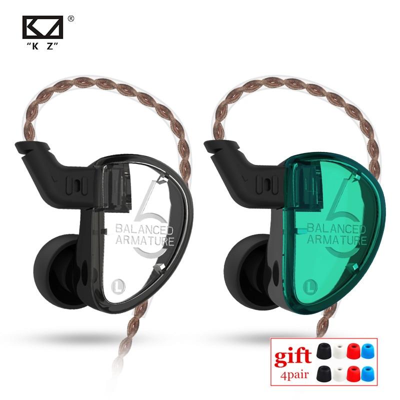 KZ AS06 3BA Ausgewogene Anker Fahrer HIFI Kopfhörer In Ohr-Monitor-Sport Headset Noise Cancelling Ohrhörer KZ Kopfhörer AS10 ZSX