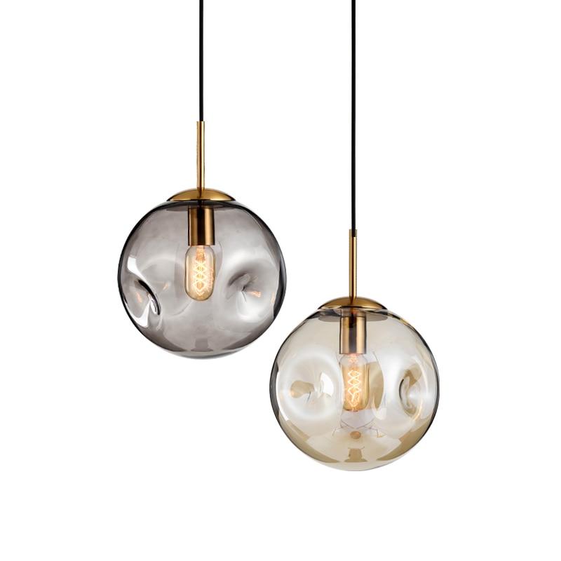 Nordic Minimalist Bar amber smoke grey glass pendant Lights for Bedside Creative Living Room Luminaria Dining Room Lamps 18cm/25cm|Pendant Lights| |  - title=