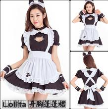 купить 2019 New Sexy Sweet Lolita Dress Maid Costume Anime Cosplay Maid Uniform Plus Halloween Costumes Party Dresses For Women дешево