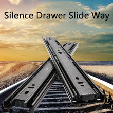 Zware Schuif Lade Track Thicken 3-Sectie Stille Slideway Drie-Sectie Rail Lade Schuif Kabinet Deur hardware