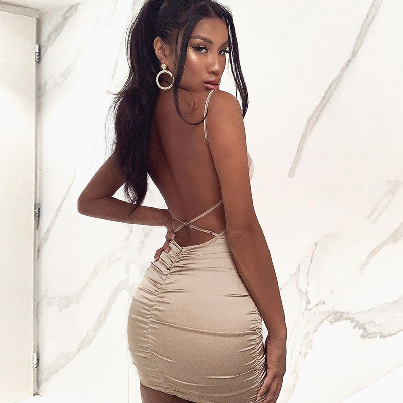Toplook Satin Backless Party Dress Sexy Women 2019 Bodycon   Ruched Slash Neck Spaghetti Strap Skinny Silk Sleeveless MIni Dress