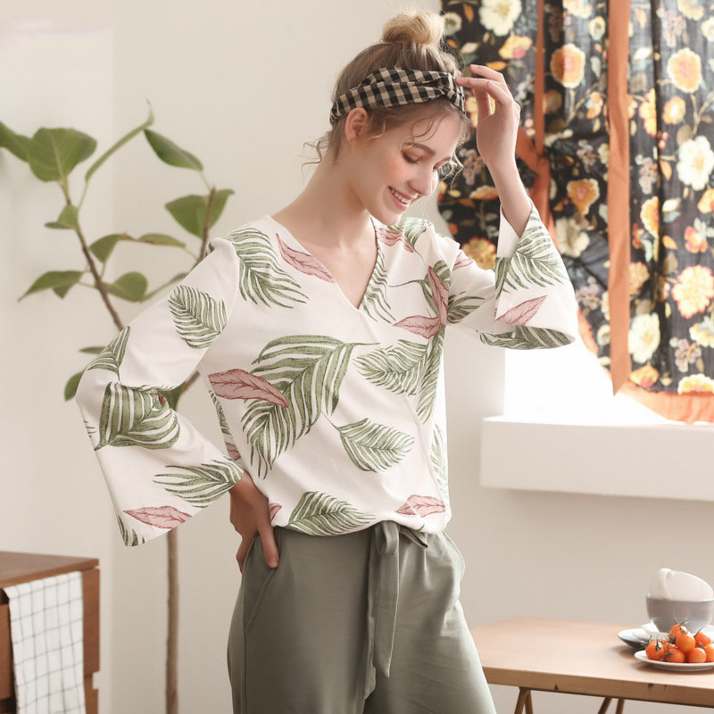Image 2 - Pajamas Set for Women Spring and Autumn Long sleeved Tops with Trousers Pijamas Sets Leaves Printing Home Suit Pajamas for WomenPajama Sets   -