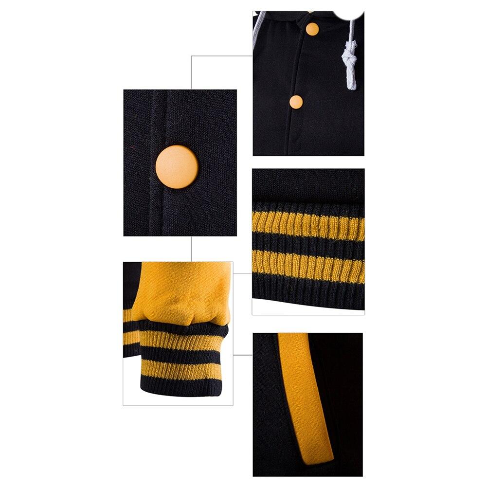 hoodie  Men Fashion Contrast Baseball Wear Casual hoodies  Button Cardigan Pocket Long Sleeve Jacket ropa hombre talla grande 5