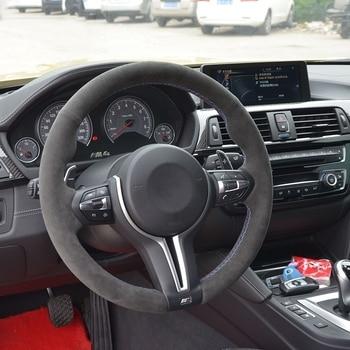 Black Alcantara Hand stitched Car Steering Wheel Cover for BMW M3 F30 320d 328i 330i 2016 M4 2014 2016 F33 428i 2015|Steering Covers|   -