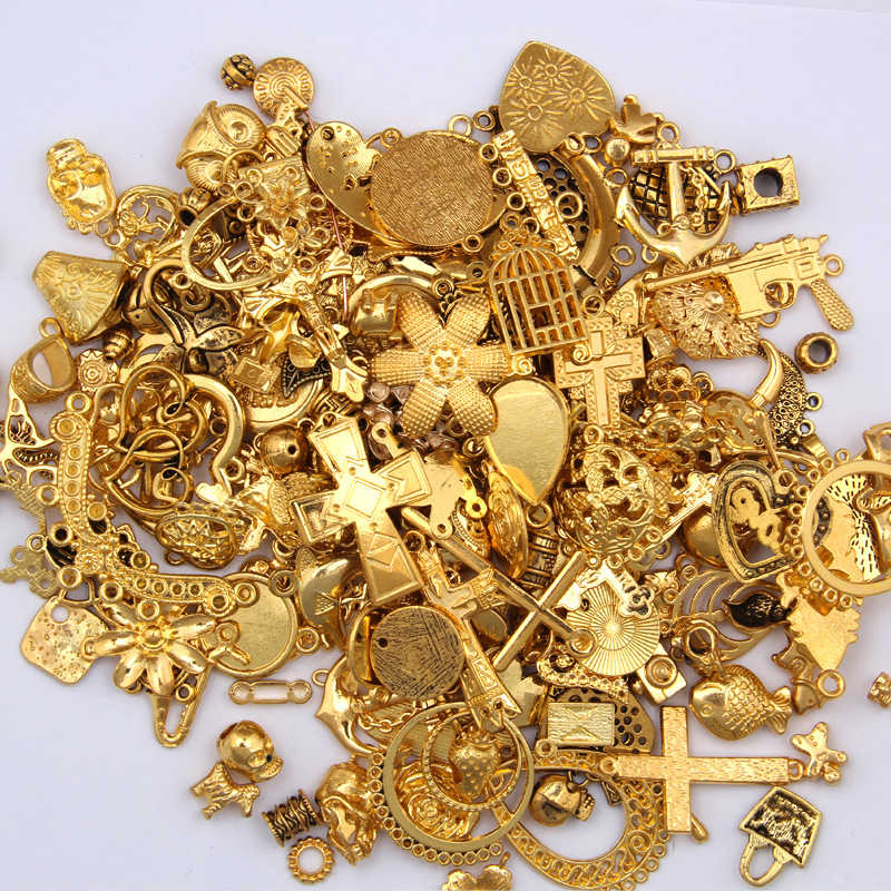 50g 100g Mixed Charms Pendants Gold DIY Vintage Bracelets Craft Zinc Alloy Metal For Jewelry Making Necklace Making Accessories