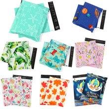 10 pçs polietileno filme saco de correio padrão impresso auto selo envio envelope transporte embalagem armazenamento natal presente sacos ferramentas