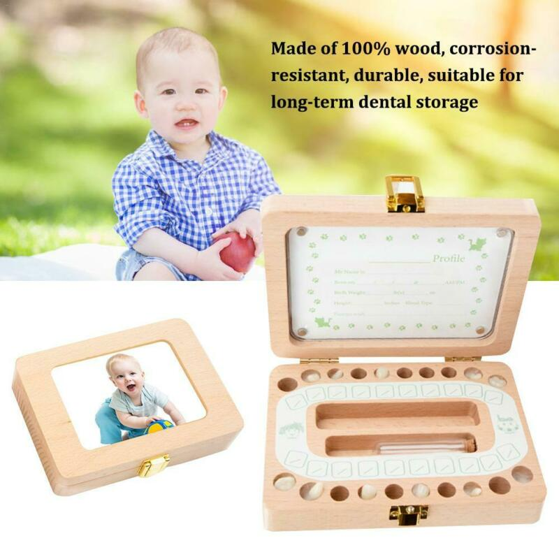 Wooden Child Baby Milk Teeth Keepsake Box Organizer Kids First Tooth Box Storage