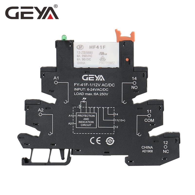 GEYA Slim Relay Module Base With Hongfa Relay 12VDC/AC Or 24VDC/AC OR 230VAC Relay Socket 6.2mm Thickness