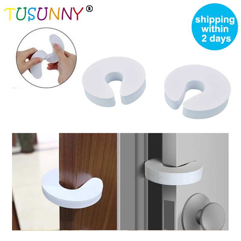 TUSUNNY 4 Pcs/set  Baby Safety Locks Children Protection EVA C Shape Security Cabinet Locks Kids Finger Safe Door Stopper
