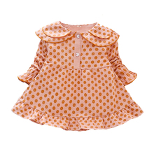 Autumn Girls Dresses Kids Dot Print Princess Dress Long Sleeve Baby Girl Doll Collar Dress 1-4 Years Children's Cotton Clothing preppy style dot teenage girl dress 2018 autumn winter long cotton ruffles kids dresses long sleeve children dress baby clothing