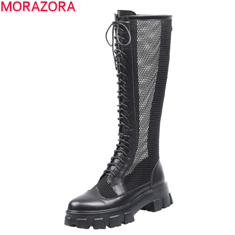 MORAZORA 2020 New arrival fashion lace up women boots genuine leather solid color spring knee high boots breathable ladies shoes
