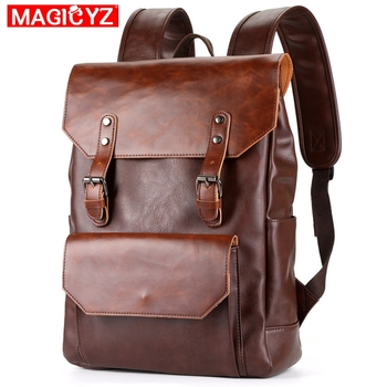 High Quality SOFT Pu Leather Men's Backpack Fashion Large Capacity Travel Backpack BOY Notebook Outdoor Street Pockets Male Bag hd19368 restoring ancient belt decoration many pockets leather bag women large capacity leather backpack