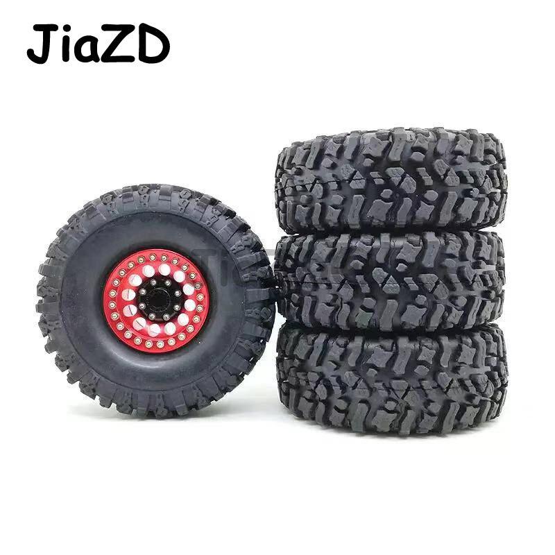 INJORA 1.9 Beadlock Wheels and Tires//1.9 Crawler Tires and Wheels Rim Set 120mm for 1//10 Scale RC Crawler Axial SCX10 II 90046 90047 TRX4,4Pcs//Set Black