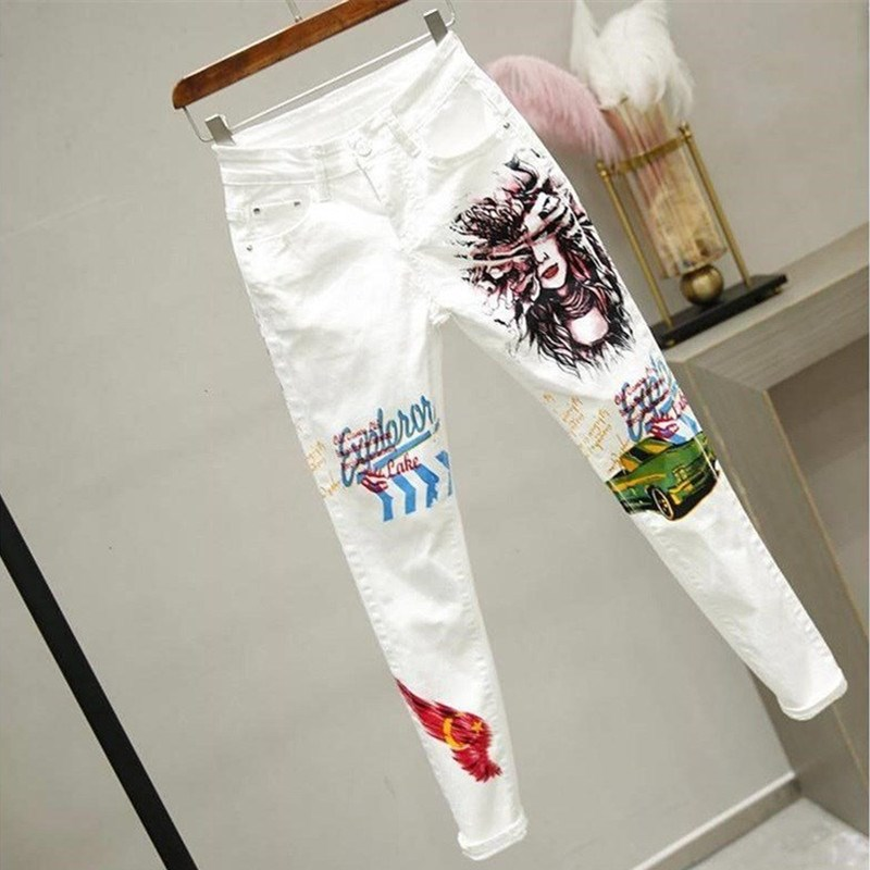 Women White Denim Pants Cartoon Graffiti Flowers Print Stretched Jeans Vintage Slim Body Capris Jeans