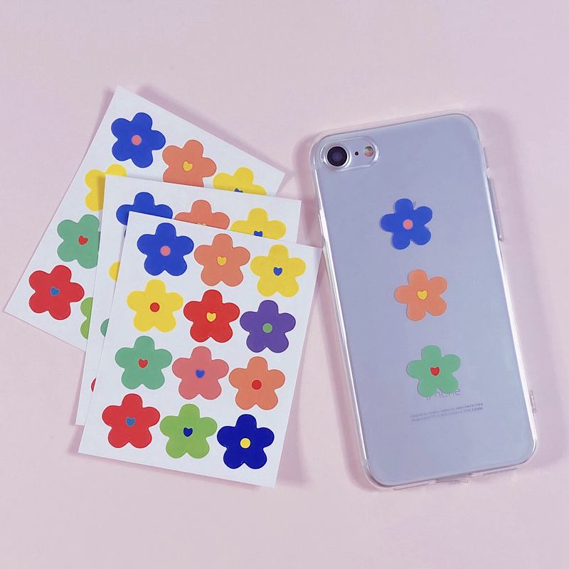 12Pcs/Lot Cartoon Cute Korea Style Ins Flower Plum Sticker DIY Scrapbooking Album Diary Label Decoration Stickers
