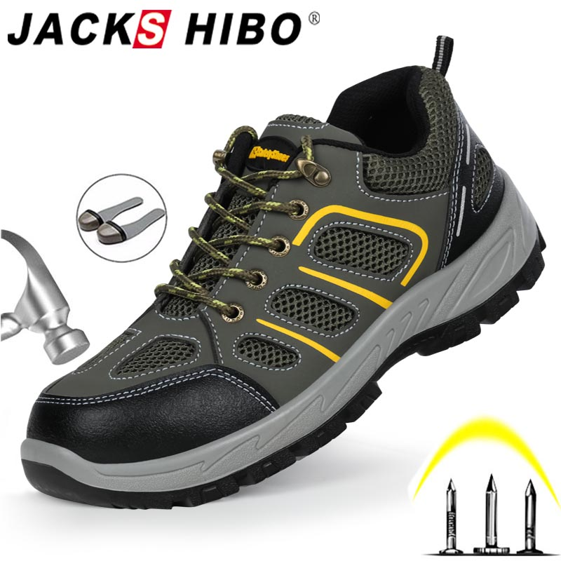 JACKSHIBO Men Safety Work Shoes Boots Security Anti-smashing Steel Toe Cap Safety Work Shoes Men Indestructible Boots Work Shoes