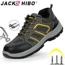 JACKSHIBO גברים בטיחות בעבודת נעלי מגפי אבטחה אנטי לנפץ פלדת הבוהן כובע בטיחות נעלי עבודת גברים בלתי ניתן להריסה מגפי עבודה נעליים