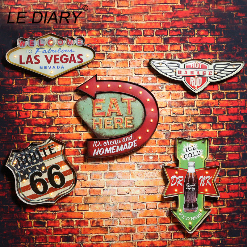 LEDIARY Restaurant Bar LED Wall Lamp Cafe Decor Big Sconce Lighting Retro Iron Route 66 Cola Ice Cream Remote Control Wall Light