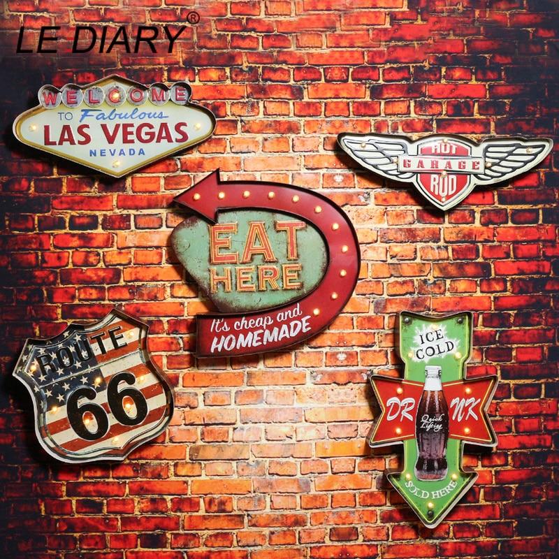 LEDIARY Restaurant Bar LED Wall Lamp Cafe Decor Big Sconce Lighting Retro Iron Route 66 Cola Ice Cream Remote Control Wall Light