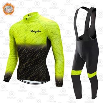 Raphaful-Conjunto de camisetas térmicas de lana para Ciclismo, Maillot para bicicleta de...