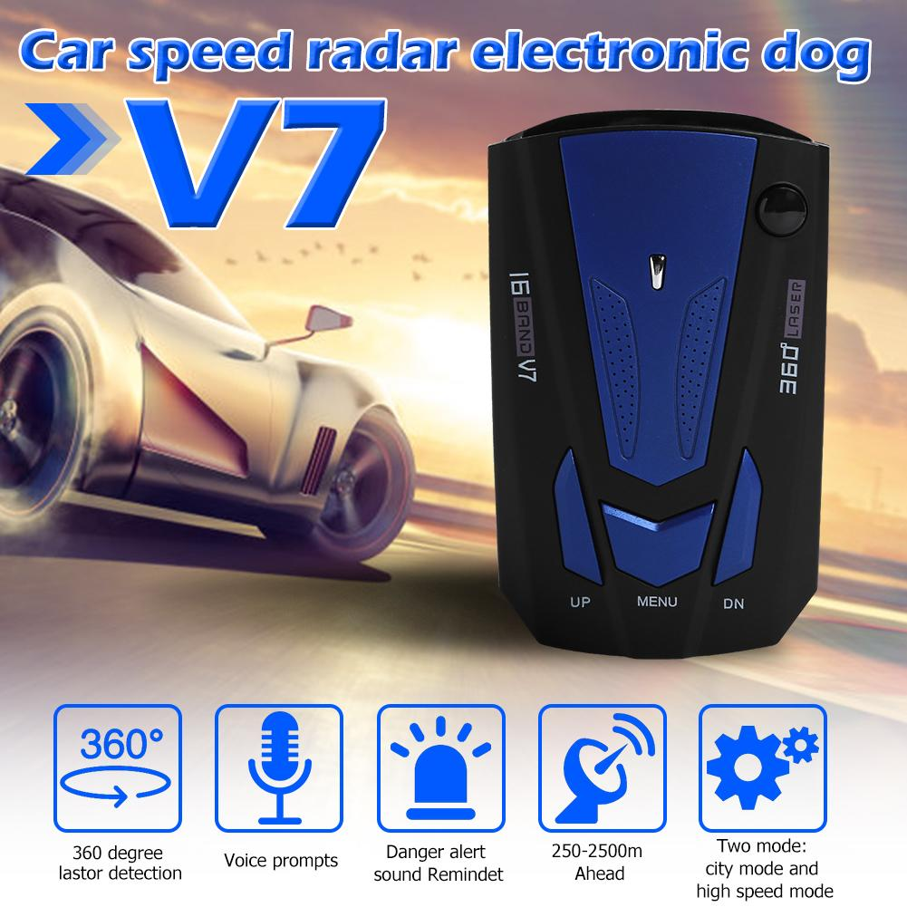 lowest price Car Radar Detector 360 Degree Vehicle V7 Control Speed Voice Alert Alarm Warning 16 Band LED Display English Russian Auto