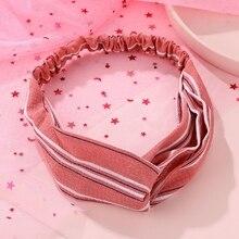 Fashion 2020 Stripe Elastic Knot Headbands Women Girls Cotton Hairband Cross Turban Bandage Bandanas Solid Color HairBands