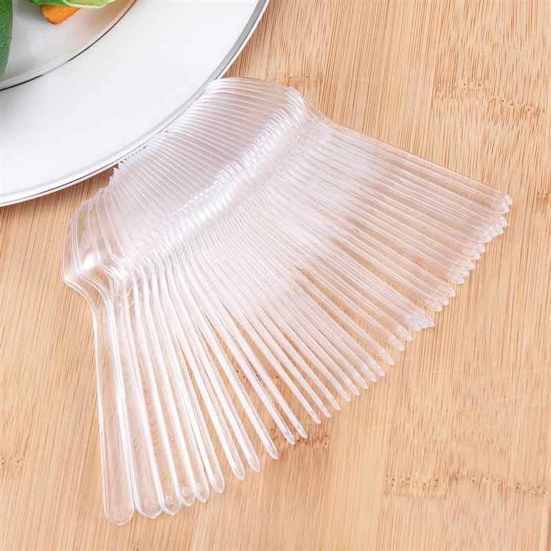 100 ชิ้น MINI ช้อนพลาสติกทิ้ง Flatware ช้อนสำหรับวุ้นไอศกรีมขนมหวานของหวาน