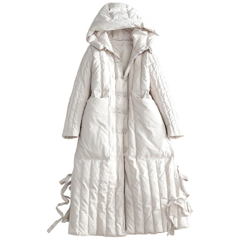 2019 New Winter vintage Women White Duck   Down   Hoodies Jackets Fashion Ladies Hooded loose   coat